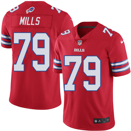 2016 Nike Buffalo Bills 79 Jordan Mills Red Mens Stitched NFL Limited Rush Jersey