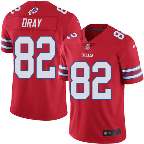 2016 Nike Buffalo Bills 82 Jim Dray Red Mens Stitched NFL Limited Rush Jersey