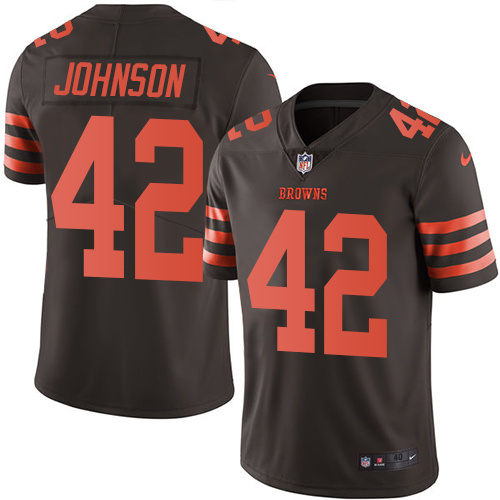 2016 Nike Cleveland Browns 42 Malcolm Johnson Brown Mens Stitched NFL Limited Rush Jersey