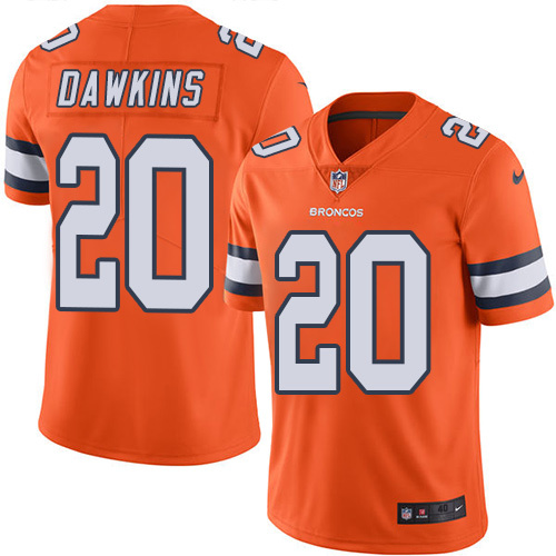 2016 Nike Denver Broncos 20 Brian Dawkins Orange Mens Stitched NFL Limited Rush Jersey