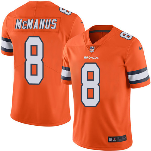2016 Nike Denver Broncos 8 Brandon McManus Orange Mens Stitched NFL Limited Rush Jersey