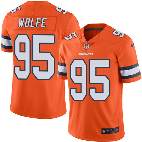 2016 Nike Denver Broncos 95 Derek Wolfe Orange Mens Stitched NFL Limited Rush Jersey