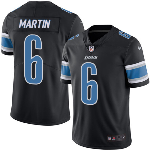 2016 Nike Detroit Lions 6 Sam Martin Black Mens Stitched NFL Limited Rush Jersey