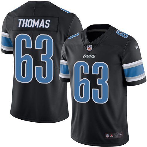 2016 Nike Detroit Lions 63 Brandon Thomas Black Mens Stitched NFL Limited Rush Jersey