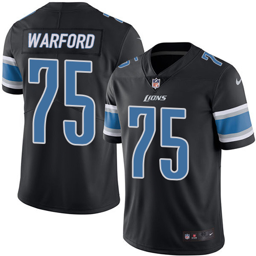 2016 Nike Detroit Lions 75 Larry Warford Black Mens Stitched NFL Limited Rush Jersey