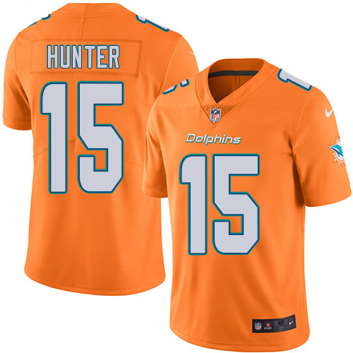 2016 Nike Miami Dolphins 15 Justin Hunter Orange Mens Stitched NFL Limited Rush Jersey
