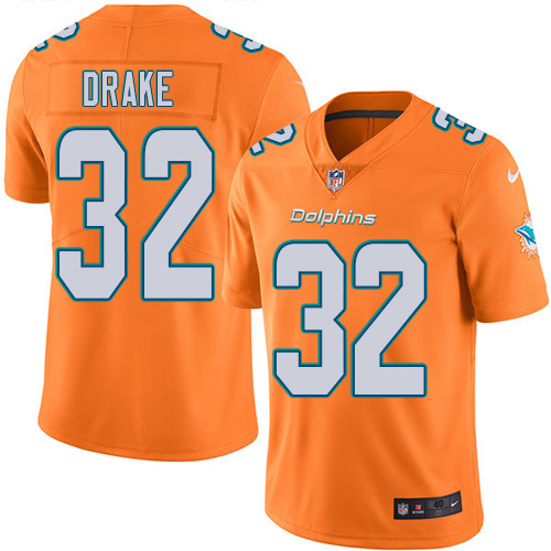 2016 Nike Miami Dolphins 32 Kenyan Drake Orange Mens Stitched NFL Limited Rush Jersey