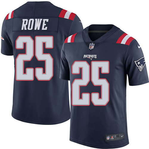 2016 Nike New England Patriots 25 Eric Rowe Navy Blue Mens Stitched NFL Limited Rush Jersey