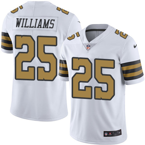 2016 Nike New Orleans Saints 25 P. J. Williams White Mens Stitched NFL Limited Rush Jersey