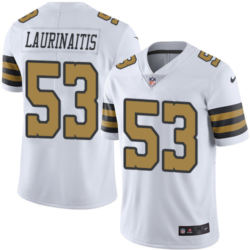2016 Nike New Orleans Saints 53 James Laurinaitis White Mens Stitched NFL Limited Rush Jersey
