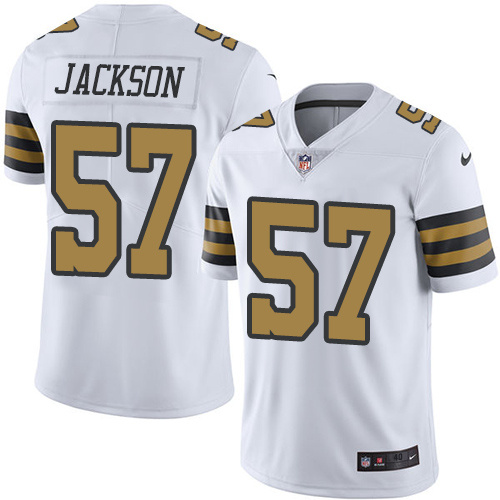 2016 Nike New Orleans Saints 57 Rickey Jackson White Mens Stitched NFL Limited Rush Jersey