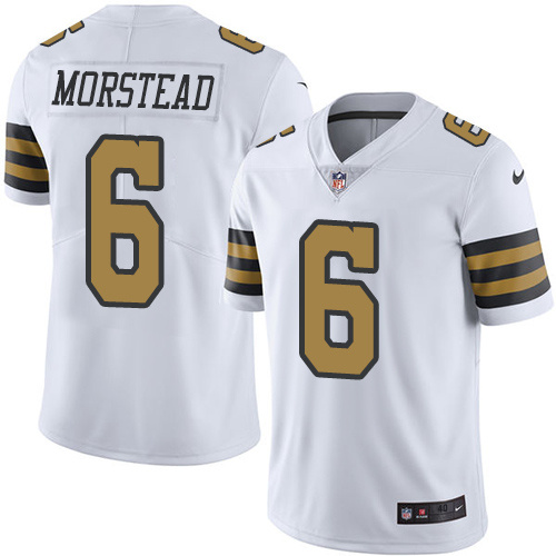 2016 Nike New Orleans Saints 6 Thomas Morstead White Mens Stitched NFL Limited Rush Jersey