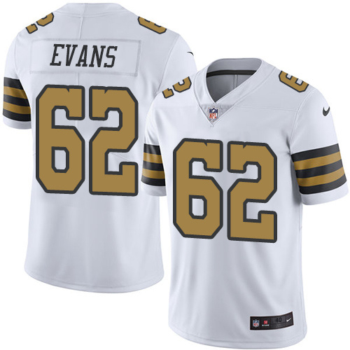 2016 Nike New Orleans Saints 62 Jahri Evans White Mens Stitched NFL Limited Rush Jersey