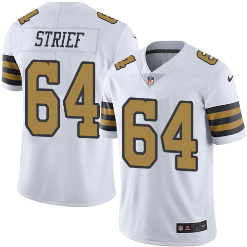 2016 Nike New Orleans Saints 64 Zach Strief White Mens Stitched NFL Limited Rush Jersey