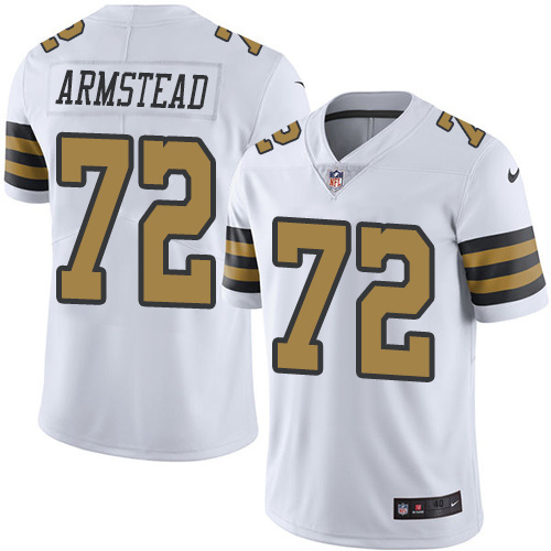 2016 Nike New Orleans Saints 72 Terron Armstead White Mens Stitched NFL Limited Rush Jersey