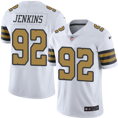 2016 Nike New Orleans Saints 92 John Jenkins White Mens Stitched NFL Limited Rush Jersey