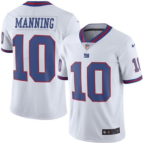 2016 Nike New York Giants 10 Eli Manning White Mens Stitched NFL Limited Rush Jersey