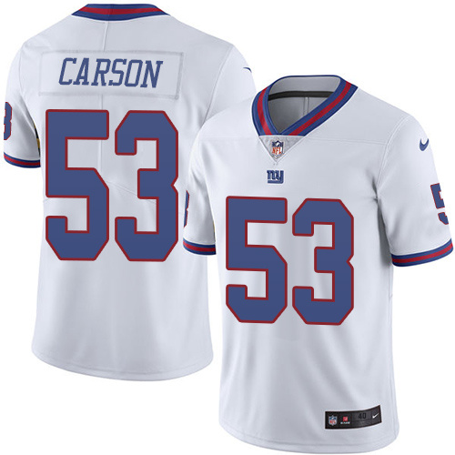 2016 Nike New York Giants 53 Harry Carson White Mens Stitched NFL Limited Rush Jersey