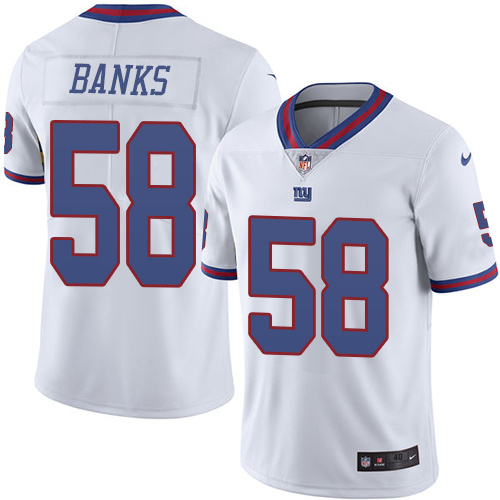 2016 Nike New York Giants 58 Carl Banks White Mens Stitched NFL Limited Rush Jersey