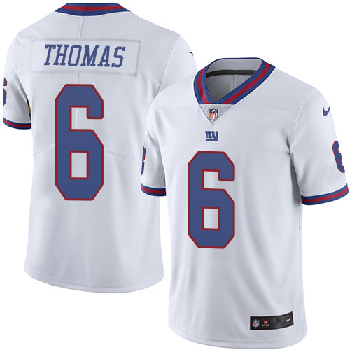 2016 Nike New York Giants 6 Logan Thomas White Mens Stitched NFL Limited Rush Jersey