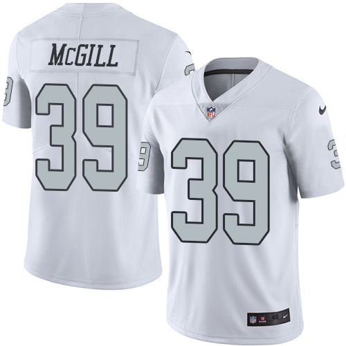 2016 Nike Oakland Raiders 39 Keith McGill White Mens Stitched NFL Limited Rush Jersey