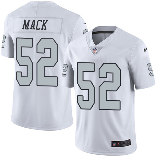 2016 Nike Oakland Raiders 52 Khalil Mack White Mens Stitched NFL Limited Rush Jersey