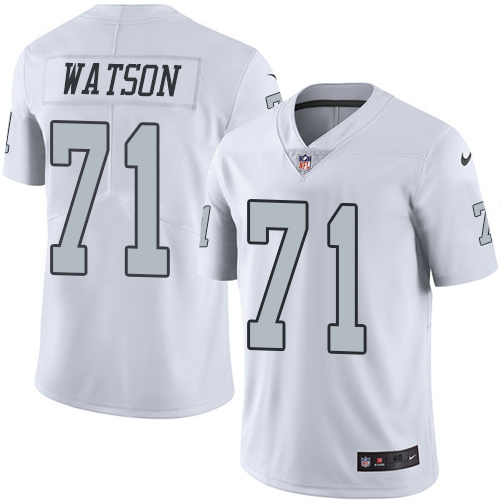 2016 Nike Oakland Raiders 71 Menelik Watson White Mens Stitched NFL Limited Rush Jersey