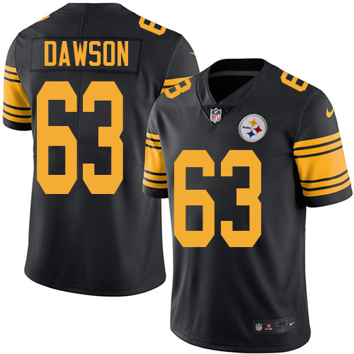 2016 Nike Pittsburgh Steelers 63 Dermontti Dawson Black Mens Stitched NFL Limited Rush Jersey