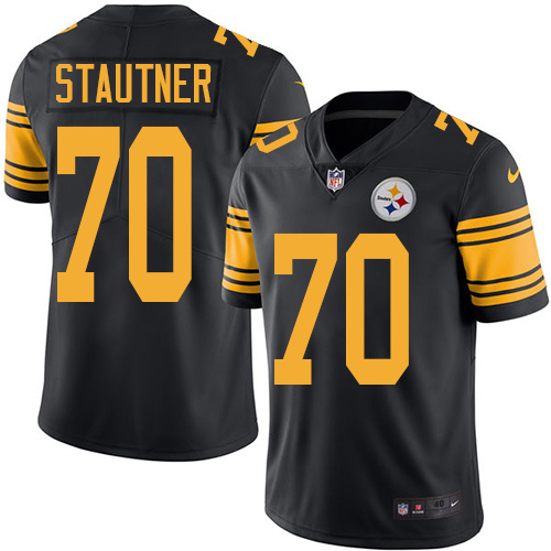 2016 Nike Pittsburgh Steelers 70 Ernie Stautner Black Mens Stitched NFL Limited Rush Jersey