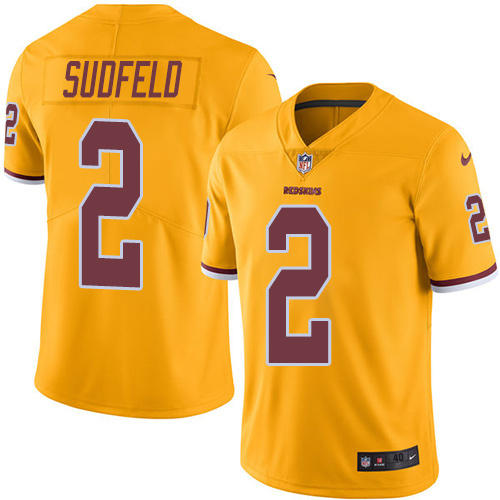 2016 Nike Washington Redskins 2 Nate Sudfeld Gold Mens Stitched NFL Limited Rush Jersey