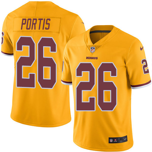 2016 Nike Washington Redskins 26 Clinton Portis Gold Mens Stitched NFL Limited Rush Jersey