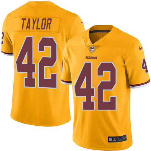 2016 Nike Washington Redskins 42 Charley Taylor Gold Mens Stitched NFL Limited Rush Jersey