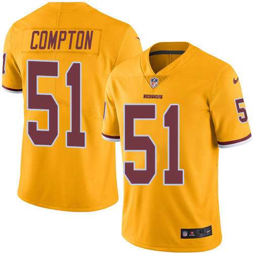 2016 Nike Washington Redskins 51 Will Compton Gold Mens Stitched NFL Limited Rush Jersey