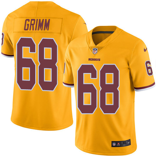 2016 Nike Washington Redskins 68 Russ Grimm Gold Mens Stitched NFL Limited Rush Jersey