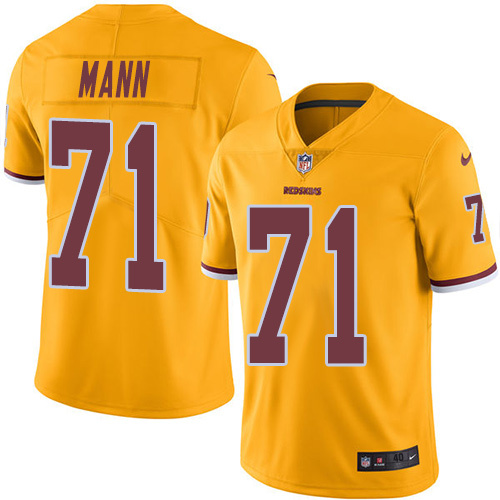 2016 Nike Washington Redskins 71 Charles Mann Gold Mens Stitched NFL Limited Rush Jersey