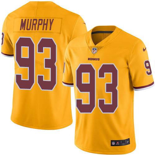 2016 Nike Washington Redskins 93 Trent Murphy Gold Mens Stitched NFL Limited Rush Jersey