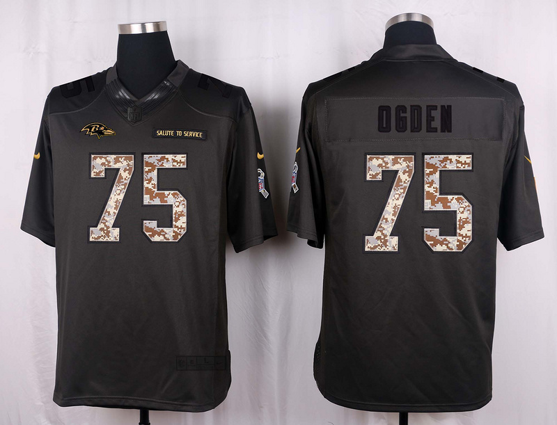 Baltimore Ravens 75 Ogden 2016 Nike Anthracite Salute to Service Limited Jersey