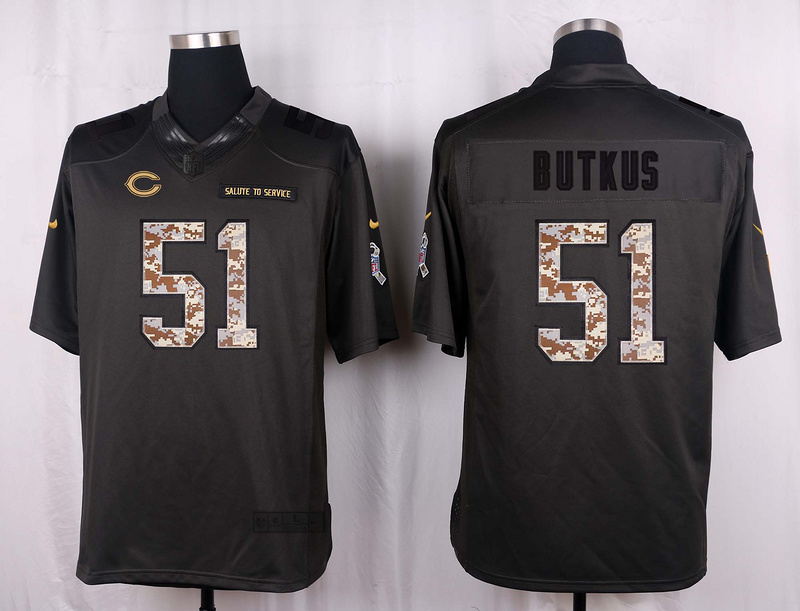 Chicago Bears 51 Butkus 2016 Nike Anthracite Salute to Service Limited Jersey