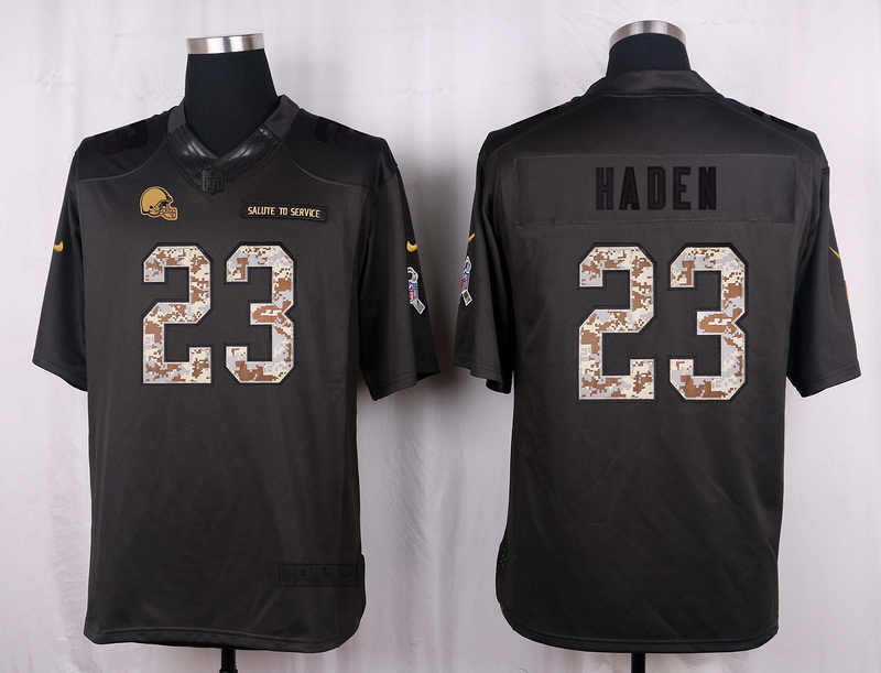 Cleveland Browns 23 Haden 2016 Nike Anthracite Salute to Service Limited Jersey