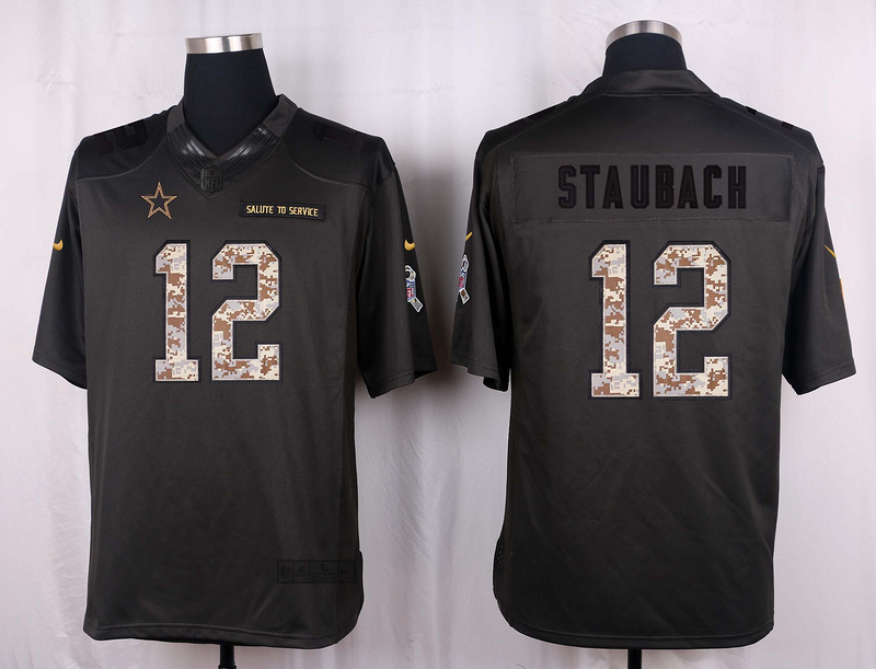 Dallas Cowboys 12 Staubach 2016 Nike Anthracite Salute to Service Limited Jersey