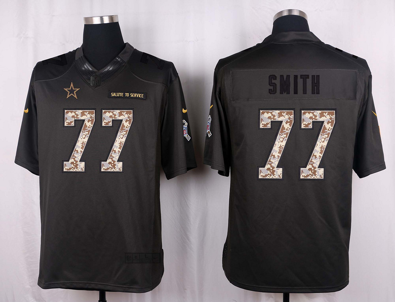 Dallas Cowboys 77 Smith 2016 Nike Anthracite Salute to Service Limited Jersey