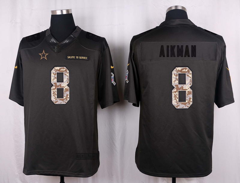 Dallas Cowboys 8 Aikman 2016 Nike Anthracite Salute to Service Limited Jersey