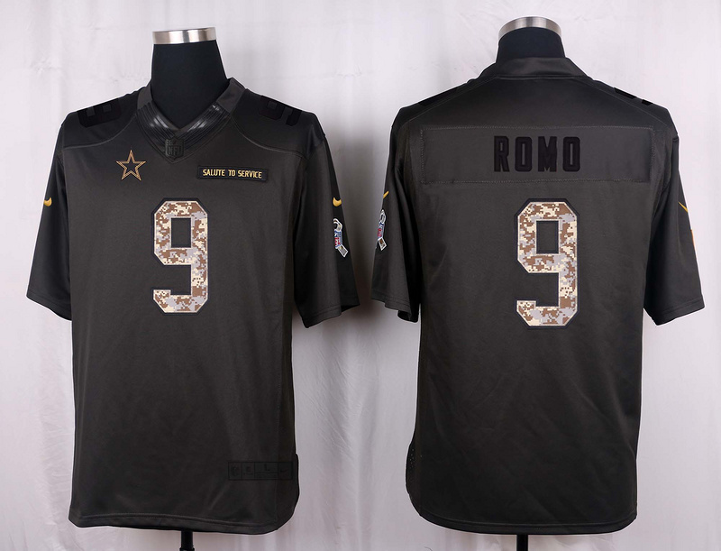 Dallas Cowboys 9 Romo 2016 Nike Anthracite Salute to Service Limited Jersey