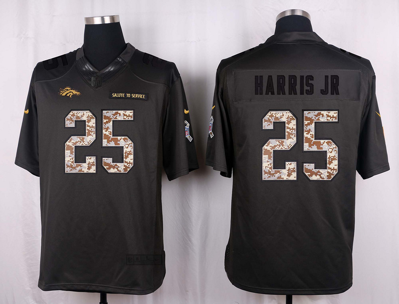 Denver Broncos 25 Harris jr 2016 Nike Anthracite Salute to Service Limited Jersey