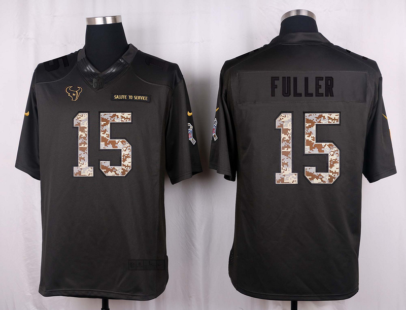 Houston Texans 15 Fuller 2016 Nike Anthracite Salute to Service Limited Jersey