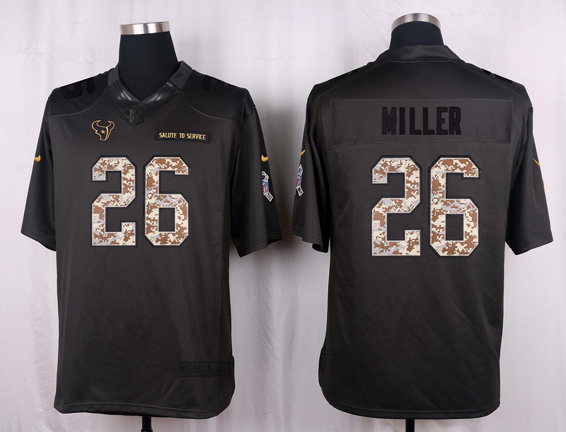 Houston Texans 26 Miller 2016 Nike Anthracite Salute to Service Limited Jersey