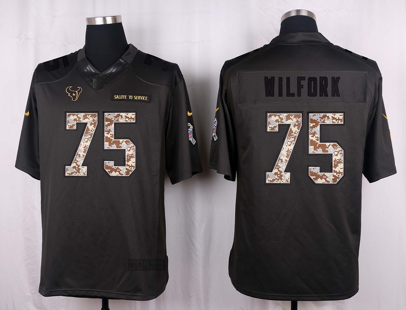 Houston Texans 75 Wilfork 2016 Nike Anthracite Salute to Service Limited Jersey