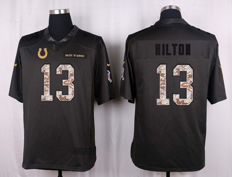 Indianapolis Colts 13 Hilton 2016 Nike Anthracite Salute to Service Limited Jersey
