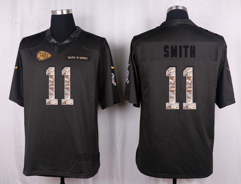 Kansas City Chiefs 11 Smith 2016 Nike Anthracite Salute to Service Limited Jersey