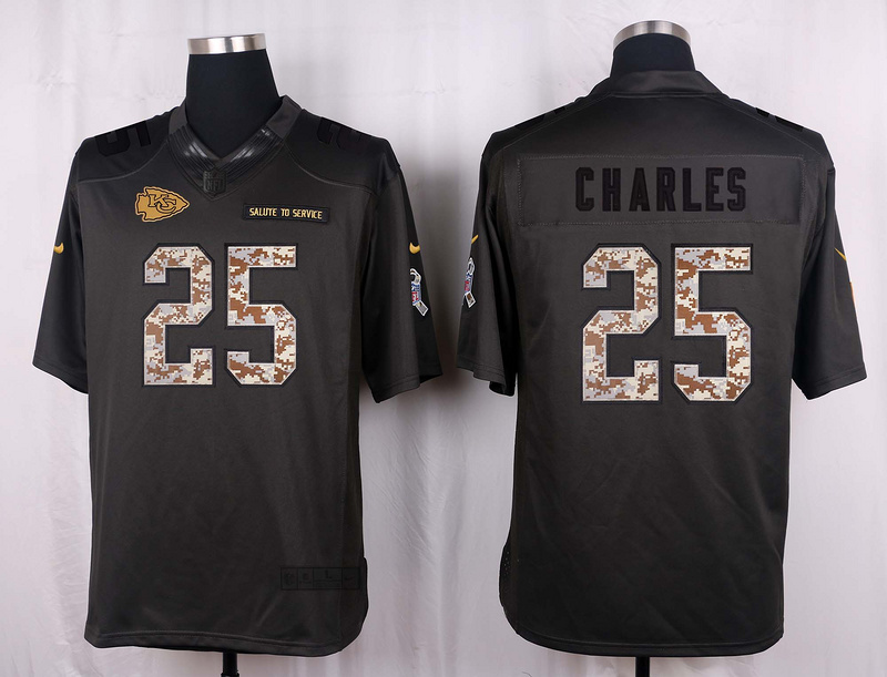 Kansas City Chiefs 25 Charles 2016 Nike Anthracite Salute to Service Limited Jersey